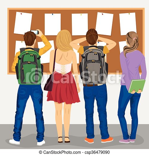 Back View Of College Students Looking At Bulletin Board