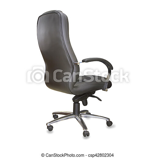 Awe Inspiring Back View Of Modern Office Chair From Black Leather Isolated Interior Design Ideas Gentotryabchikinfo