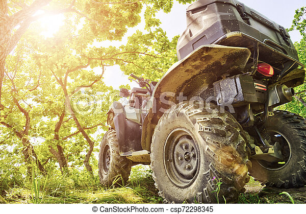 Back view of quad bike deep in the forest road. - csp72298345