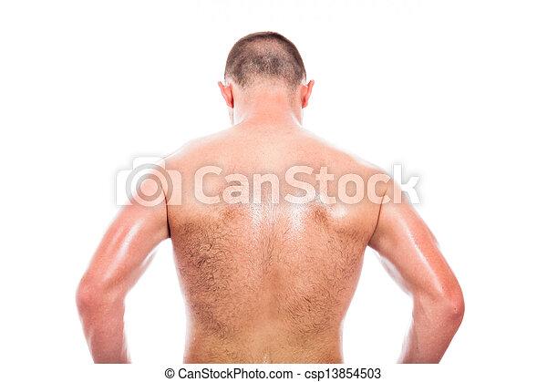 Back view of shirtless man - csp13854503