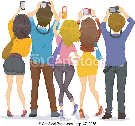 Back View of Teens with Cameras - csp13712075