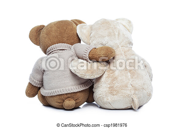Back view of two Teddy bears hugging each other - csp1981976