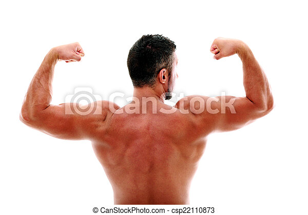 Back view portrait of muscular man showing his biceps - csp22110873