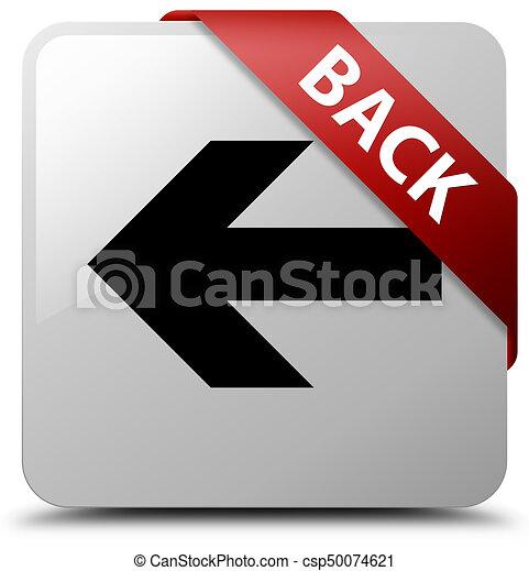 Back white square button red ribbon in corner - csp50074621