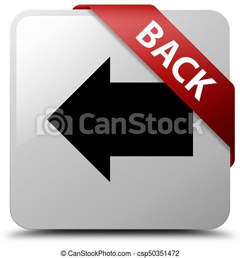Back white square button red ribbon in corner - csp50351472