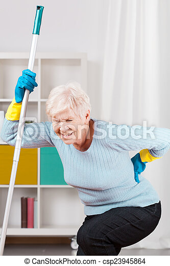Backache during cleaning up - csp23945864