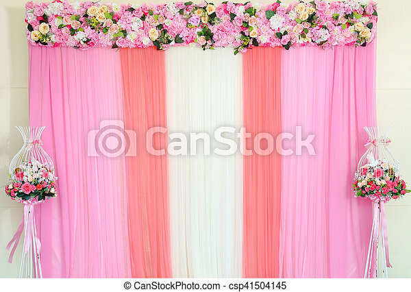 Colorful backdrop of fake flowers with pink and white fabric colorful backdrop of fake flowers with pink and white fabric arrangement by handmade ready for wedding ceremony mightylinksfo