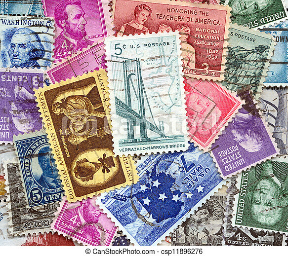 backdrop of old U.S. postage stamps - csp11896276