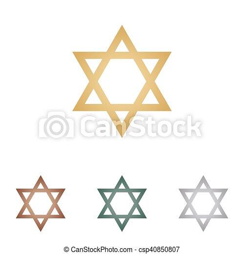Shield magen david star. El símbolo de Israel. iconos metálicos en la espalda blanca. - csp40850807