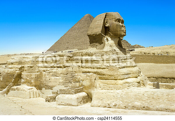 backgr, スフィンクス, ピラミッド, プロフィール, 偉人, フルである - csp24114555