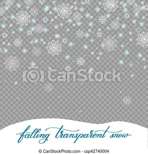 La nieve de decoración de Navidad se aisló en el retroceso transparente - csp42740004