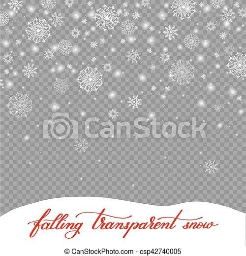 La nieve de decoración de Navidad se aisló en el retroceso transparente - csp42740005