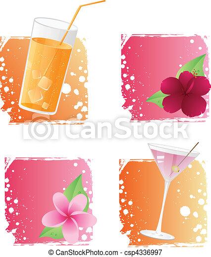 backgr, flores, grunge, bebidas - csp4336997