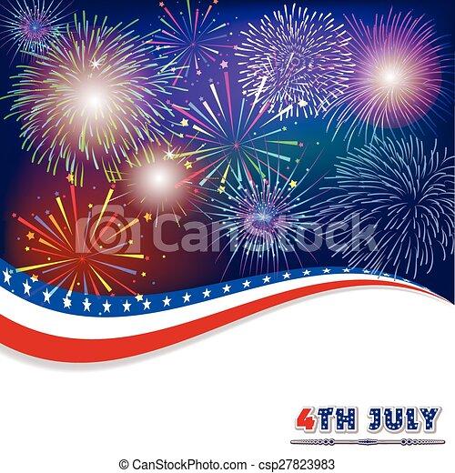 Vierter Juli mit Feuerwerk - csp27823983