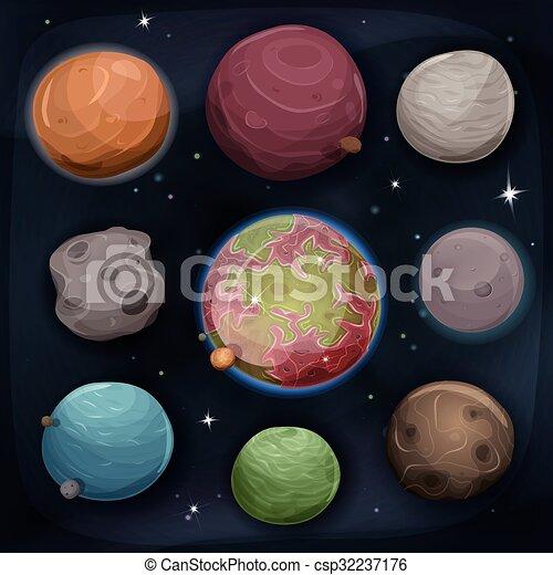 backgrou, ensemble, comique, planètes, espace - csp32237176