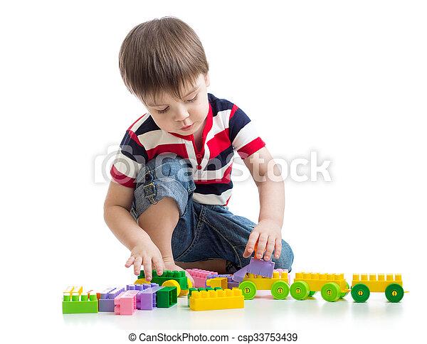 backgroun, わずかしか, セット, 上に, 建設, 子供, 白 - csp33753439