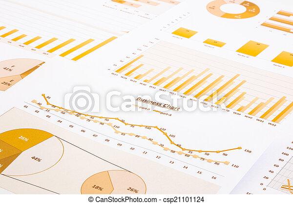 backgroun, handlowy, wykresy, żółty, wykresy, zameldować, summarizing - csp21101124