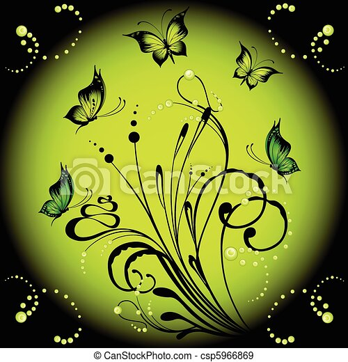 background and butterflies - csp5966869