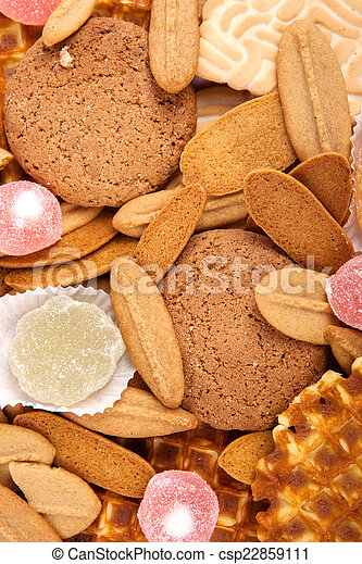 background biscuits, waffles and fruit jelly - csp22859111