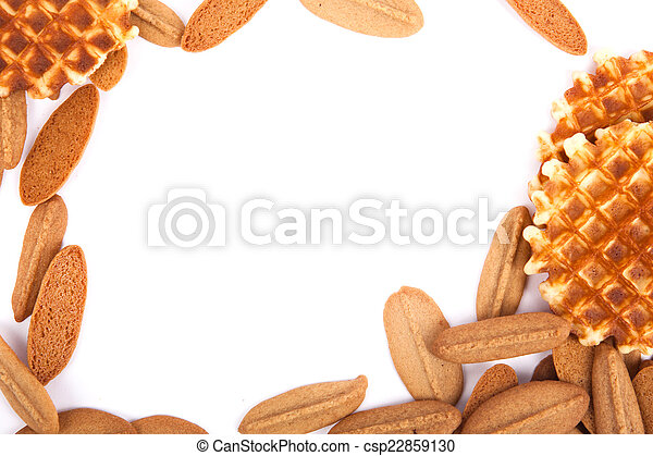 background biscuits, waffles and fruit jelly - csp22859130