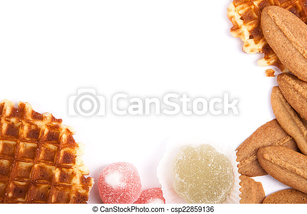 background biscuits, waffles and fruit jelly - csp22859136