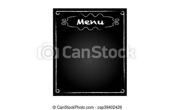Background black blackboard with word of restaurant menu - csp39402426
