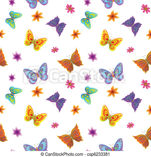 Background Butterflies And Flowers