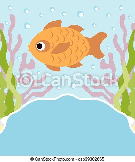 Background cartoon card with fish - csp39302665