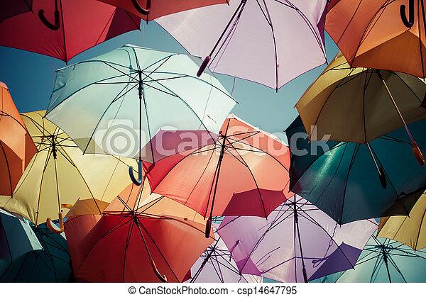 Background colorful umbrella street decoration. - csp14647795