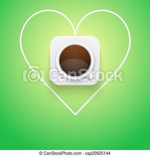 Background cup of coffee and heart. - csp20925144