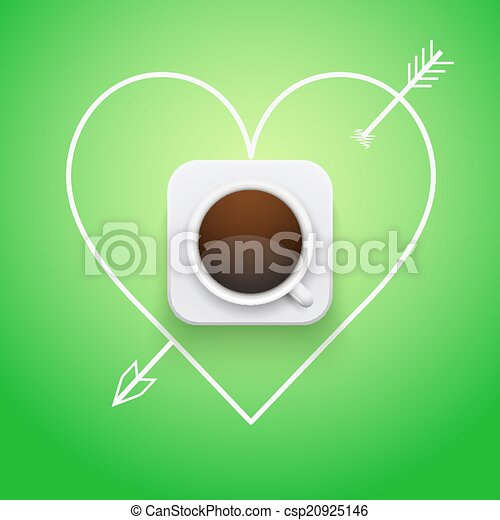 Background cup of coffee and heart with arrow. - csp20925146