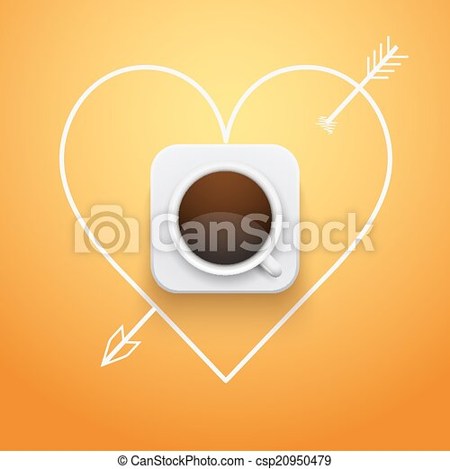 Background cup of coffee and heart with arrow. - csp20950479