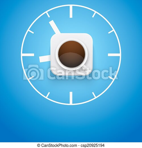 Background cup of coffee and time. Vector Illustration. - csp20925194