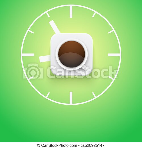 Background cup of coffee and time. Vector Illustration. - csp20925147