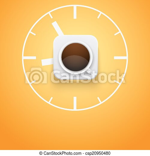 Background cup of coffee and time. Vector Illustration. - csp20950480