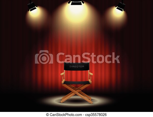 background curtain and director's chair with spotlight - csp35578026