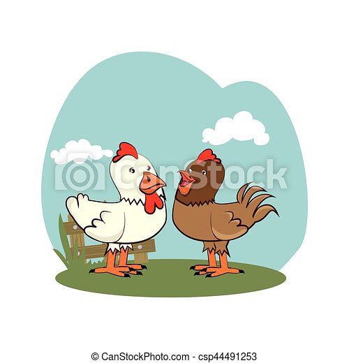 background farm with chicken animals - csp44491253
