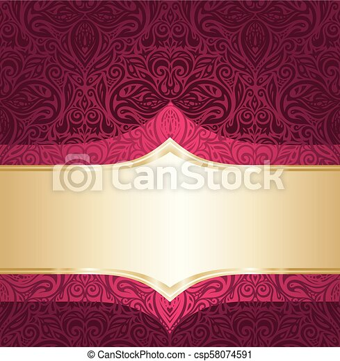 Background Floral Red And Gold Luxury Vintage Invitation Design