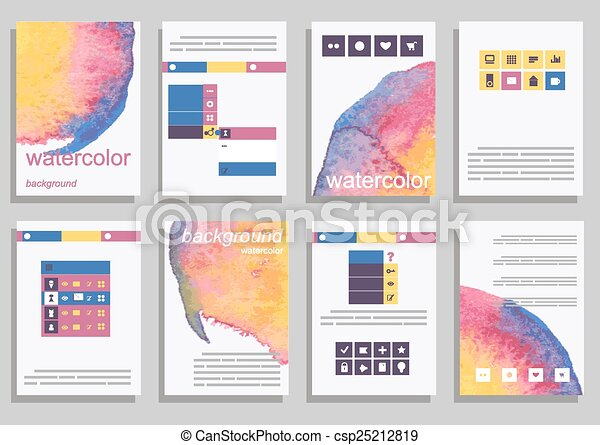 Set of vector poster templates with watercolor paint splash set of vector poster templates with watercolor paint splash abstract background for business documents flyers posters and placards accmission Choice Image