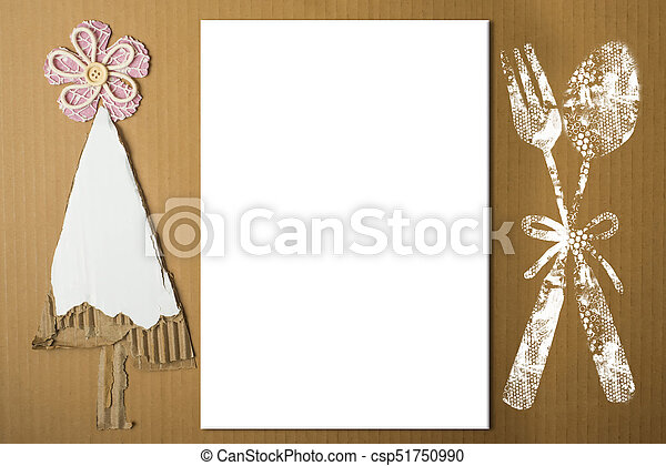 background for writing menu or nativity recipes simple christmas tree made with pieces of cardboard menu symbol and empty white background - Simple Christmas Menu