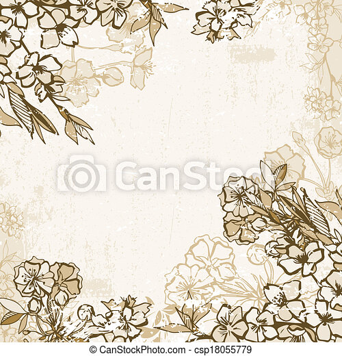 Background frame with blossoming cherry or sakura - csp18055779