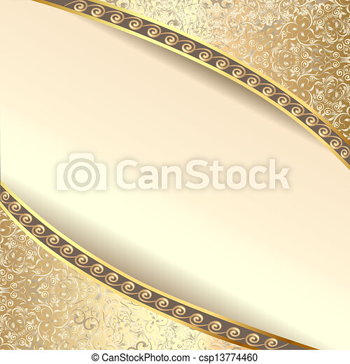 background frame with flowers of silk with gold glitter - csp13774460