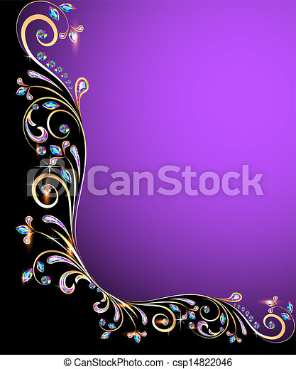 background frame with jewels, golden ornament  - csp14822046