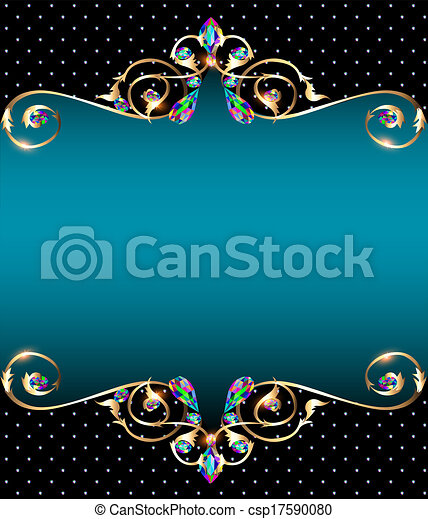 background frame with jewels of gold ornaments - csp17590080