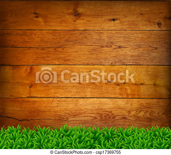 Background from oak boards with green grass. - csp17369755