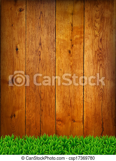 Background from oak boards with green grass. - csp17369780