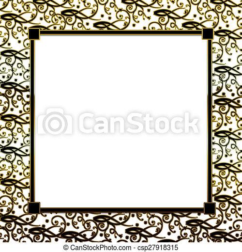 Background Gold Black Border Square Black Gold Background With