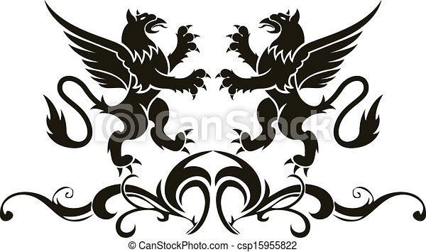 Background heraldry decoration. Vector - csp15955822