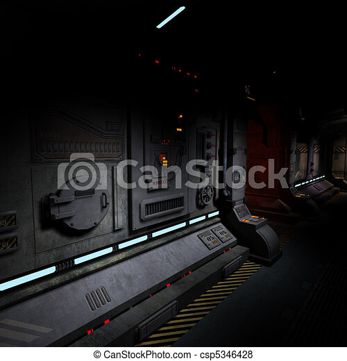 background image of a dark corridor on bord of a spaceship.  - csp5346428
