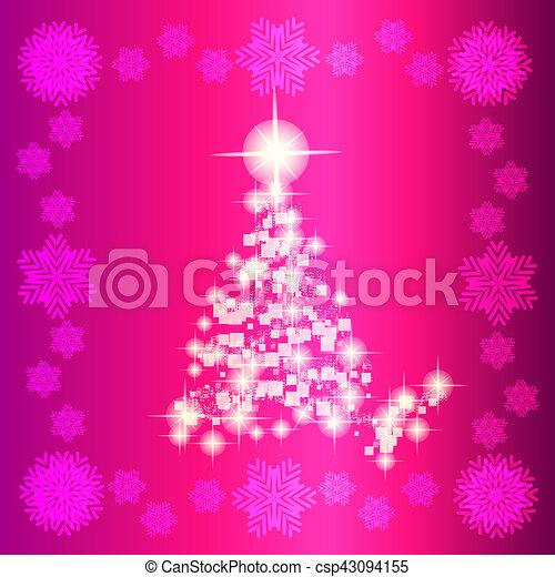 Background In Abstract Pink And White Colors With Christmas Tree Illustration